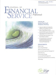 Journal of Financial Service Profssionals Cover Art
